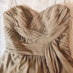 BRIDESMAIDS DRESS long tan strapless